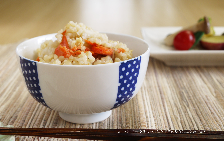 スーパー玄米を使った「鮭と長芋の炊き込み玄米ごはん」