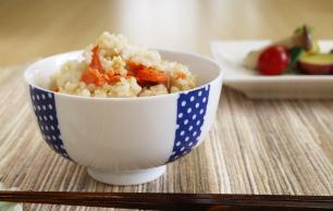 鮭と長芋の炊き込み玄米ごはん 調理例